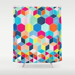 Super Bright Color Fun Hexagon Pattern Shower Curtain