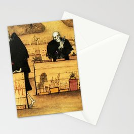 Garden of Life and Death flower and skeleton magical realism portrait painting by Hugo Simberg Stationery Cards