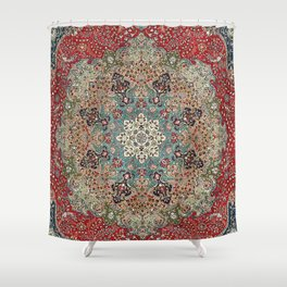 Antique Red Blue Black Persian Carpet Print Shower Curtain