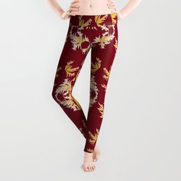 Maroon, Gold and White Floral Trio Leggings