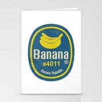 sticker Stationery Cards featuring Banana Sticker On White by Karolis Butenas