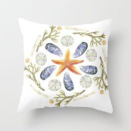 Tide Pool Beach Mandala 3 - Watercolor Throw Pillow