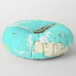 VINTAGE FLYING CAR Floor Pillow