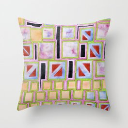 Composition out of Three Kind of Squares Throw Pillow