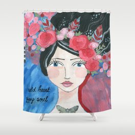 """Warrior Girl Gypsy Soul, """"Christine"""" flowers and feathers Shower Curtain"""