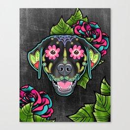 Labrador Retriever - Black Lab - Day of the Dead Sugar Skull Dog Canvas Print