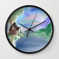 cabin Wall Clocks featuring Peaceful Cabin by Christina Dugger