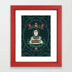 Yule Log Lady (in Green) Framed Art Print