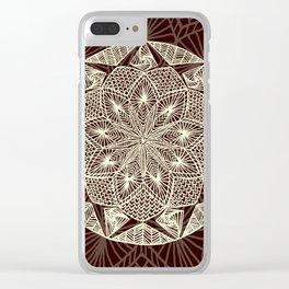 Maroon Mandala 2 Clear iPhone Case