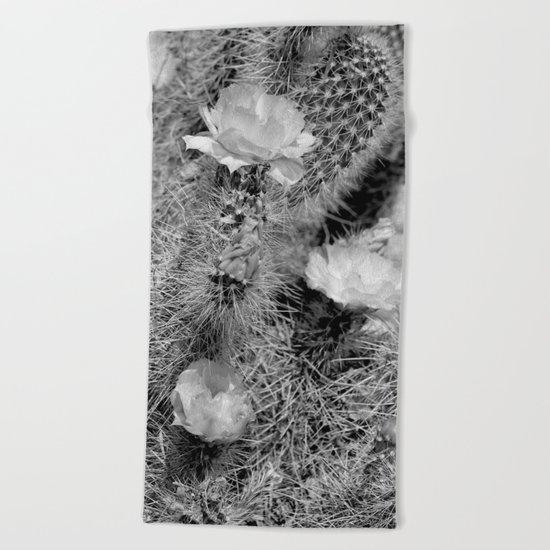 Hedgehog Cactus In Bloom II - Black and White Beach Towel