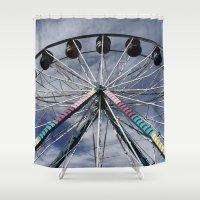 ferris wheel Shower Curtains featuring Ferris Wheel by 100 Watt Photography