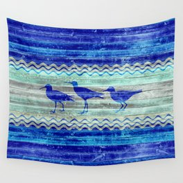 Rustic Navy Blue Coastal Decor Sandpipers Wall Tapestry