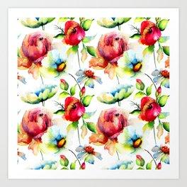 Red budding roses pattern Art Print