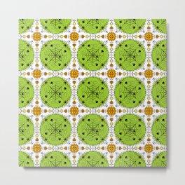Halloween mandala - green spots and spiders Metal Print
