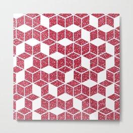 Pink Glitter Cube Metal Print