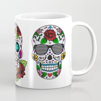sugar skulls Mugs featuring Sugar skulls by very giorgious