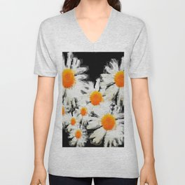 high contrast daisies pastel drawing Unisex V-Neck