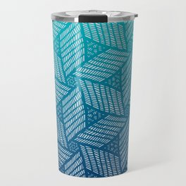 Japanese style wood carving pattern in blue Travel Mug