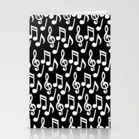 music notes Stationery Cards featuring Black & White Music Notes by Designs by Aryel