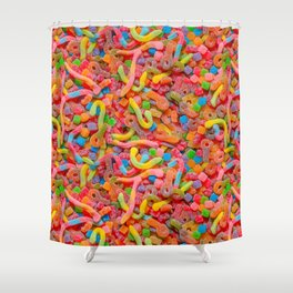 Party Mix Neon Sour Gummies Real Candy Pattern Shower Curtain