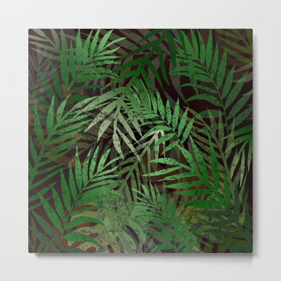TROPICAL GREEN LEAVES BROWN B. Metal Print