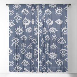 Mystic Eyes – White on Navy Sheer Curtain