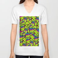 sticker V-neck T-shirts featuring Sticker Puke by NatalieNewportman