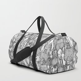 just chickens black white Duffle Bag