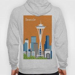 Seattle, Washington - Skyline Illustration by Loose Petals Hoody