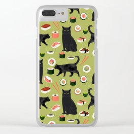 Black cat sushi cat breeds cat lover pattern art print cat lady must have Clear iPhone Case