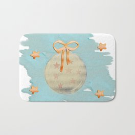 Christmas Ornament Collage Bath Mat