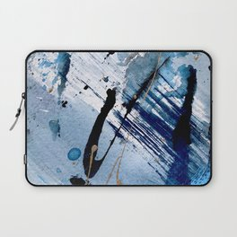 Breathe [2]: colorful abstract in black, blue, purple, gold and white Laptop Sleeve