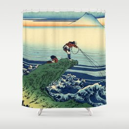 "Hokusai (1760-1849)  ""Kajikazawa in Kai Province"" Shower Curtain"