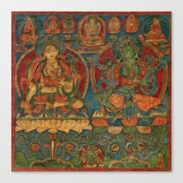 The White Tara and The Green Tara Canvas Print