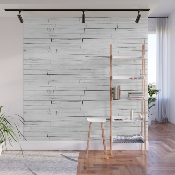 White Wooden Planks Wall Mural By