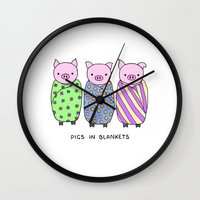 blankets Wall Clocks featuring Pigs in Blankets by Charlotte Lucy