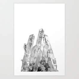 Crystal, Crystals, Rock, Geode, Agate, Stone, Black and White, Monochrome, Minimalist, Photo, Grey Art Print