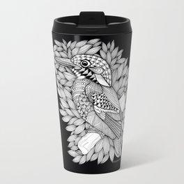 Zentangle Halcyon Black and White Illustration Travel Mug