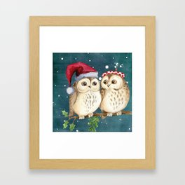 Cute Christmas Winter Owl Couple Painting Framed Art Print