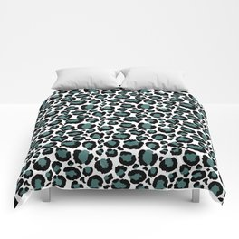 Teal Leopard Animal Print Pattern Comforters