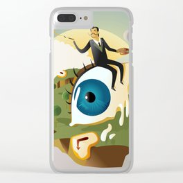 great surrealism painter on big floating eye in island with clocks Clear iPhone Case