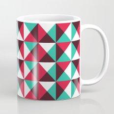 Red, turquoise, black triangle pattern Mug