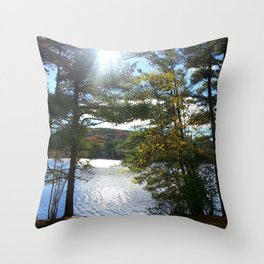 Quiet Lake in Autumn Throw Pillow