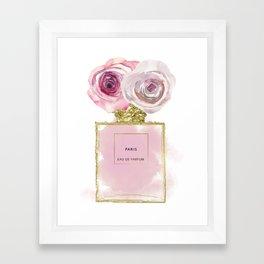 Pink & Gold Floral Fashion Perfume Bottle Framed Art Print