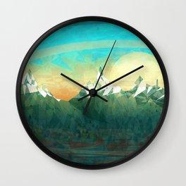 Mountains abowe the blue sky Wall Clock