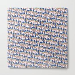Sweden Trendy Rainbow Text Pattern (Blue) Metal Print