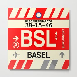 BSL Basel • Airport Code and Vintage Baggage Tag Design Metal Print