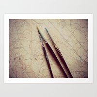 journey Art Prints featuring Journey by messy bed studio