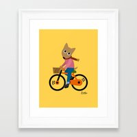 cycling Framed Art Prints featuring Sam's Cycling by BATKEI