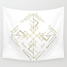 Binding Rune - Joy of Fortunes in Gold Wall Tapestry